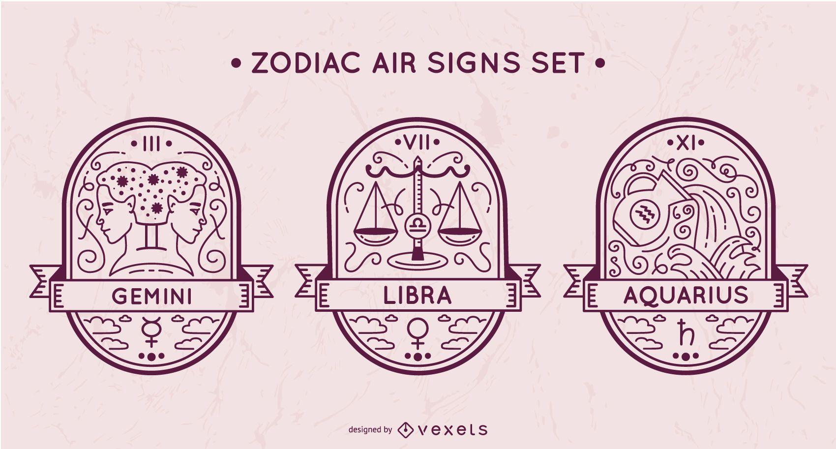 Conjunto de signos de aire del zodiaco