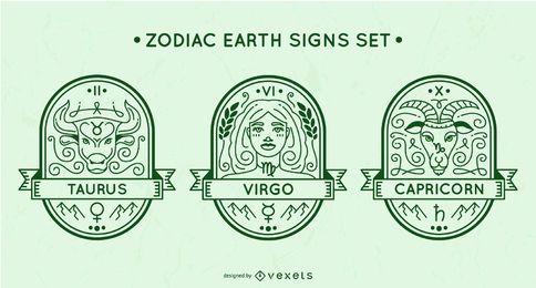 Conjunto de signos de terra do zodíaco