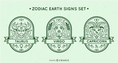 Zodiac earth signs set