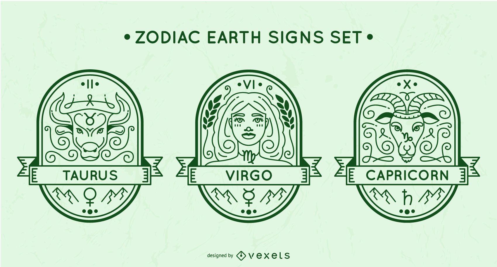 Conjunto de signos de tierra del zodiaco