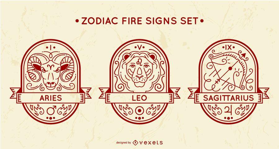 Conjunto de sinais de fogo do zodíaco