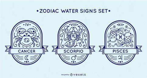 Conjunto de sinais de água do zodíaco