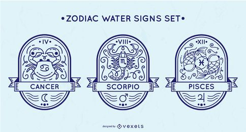 Zodiac water signs set