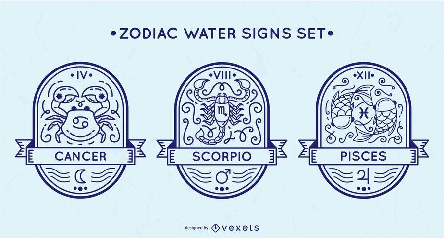 Zodiac water signs set