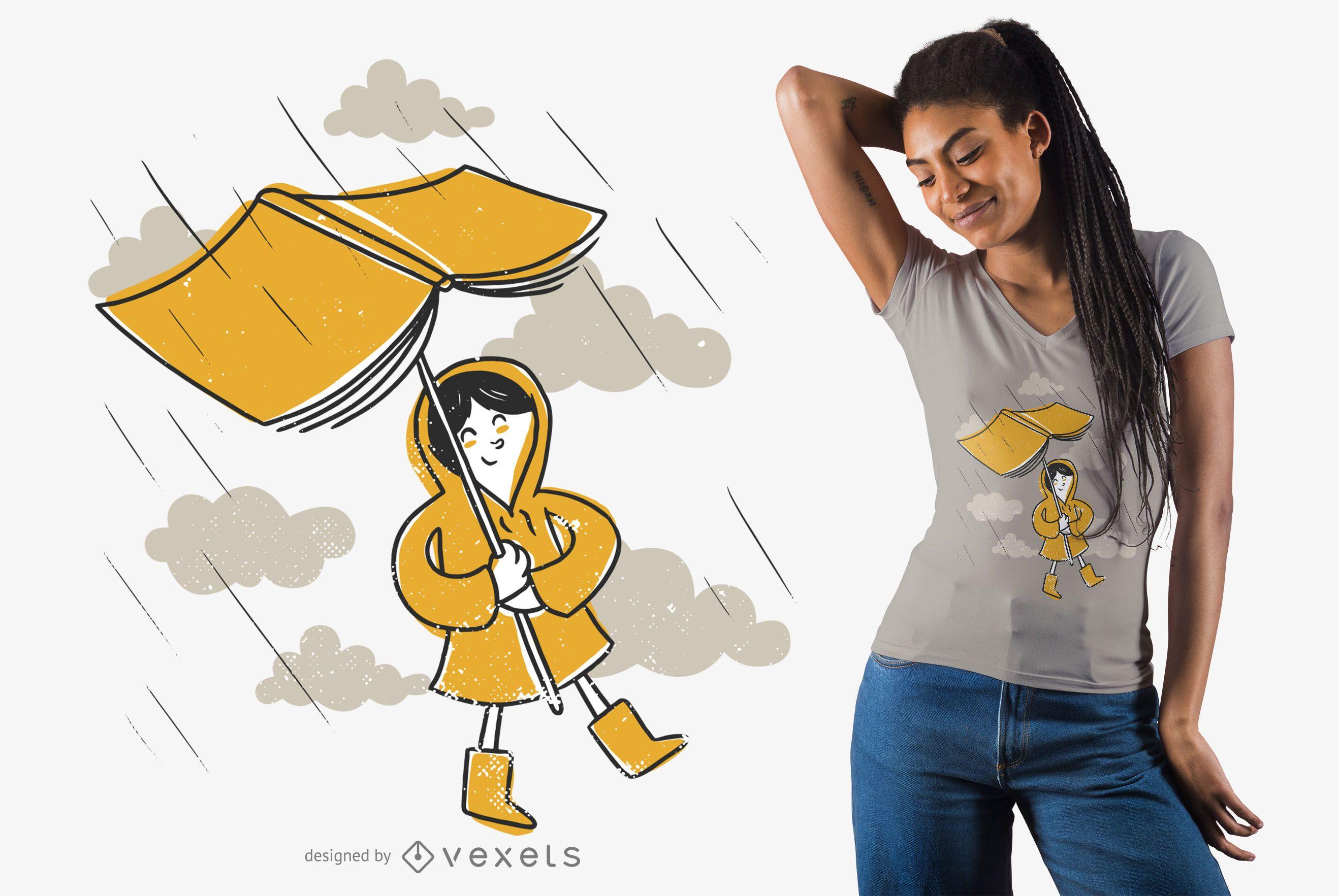 Diseño de camiseta de lluvia de libro.