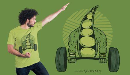Diseño de camiseta de frijol levantamiento de pesas