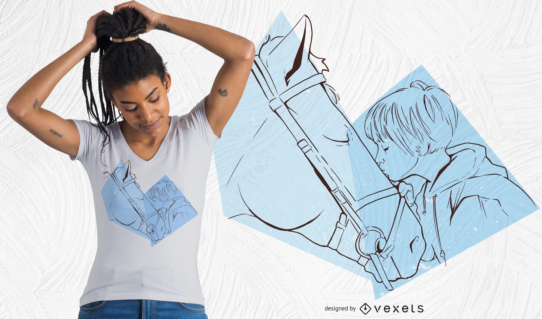 Desenho de camiseta de cavalo com beijo de menina