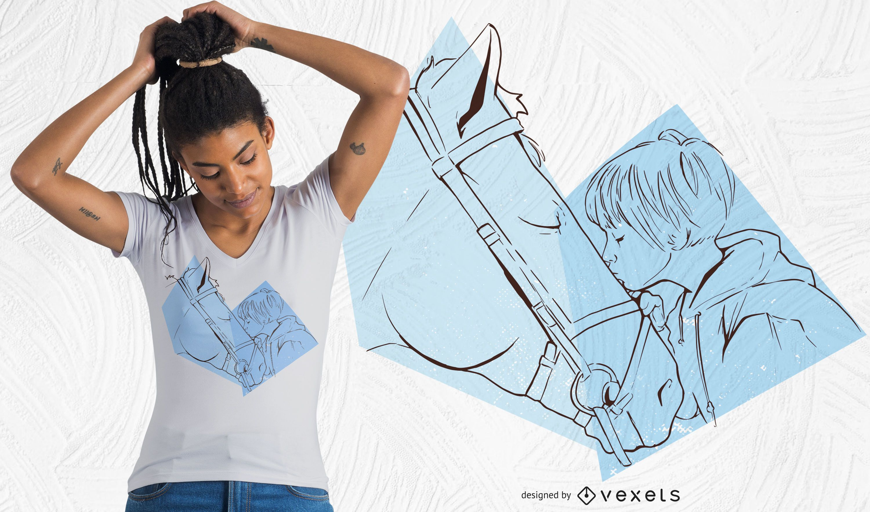 Diseño de camiseta girl kiss horse
