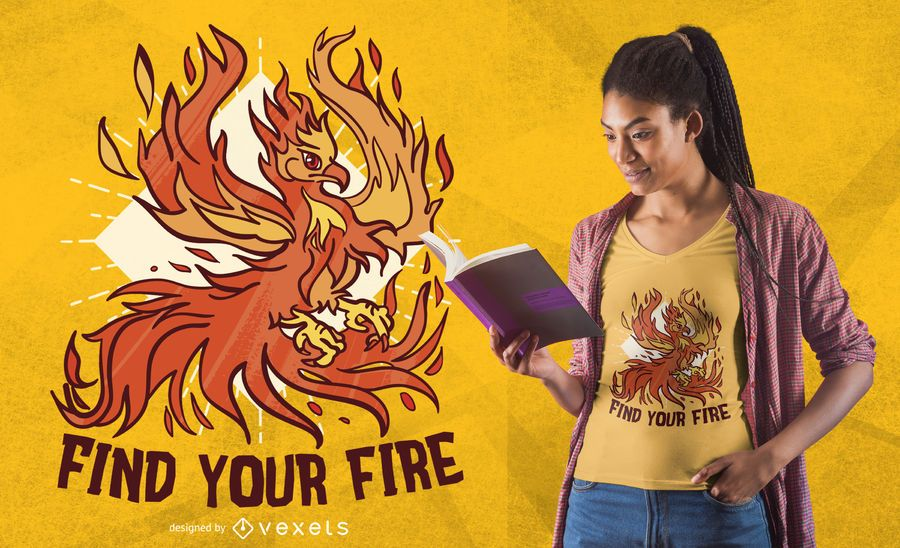 Diseño de camiseta Phoenix fire