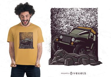Projeto do t-shirt do jipe da estrada rochosa