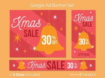 Conjunto de banner de campana de venta de Navidad