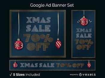 Conjunto de banner de anúncio de google de venda de Natal