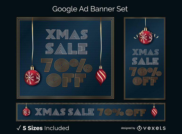 Venta de navidad conjunto de banner publicitario de google