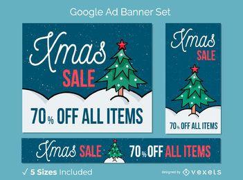 Conjunto de banner de árbol de venta de Navidad
