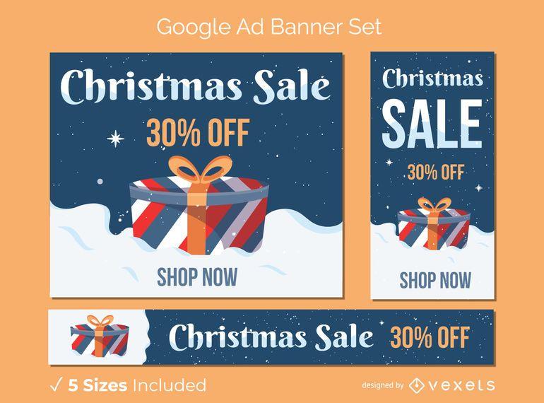 Conjunto de banner de regalo de venta de navidad