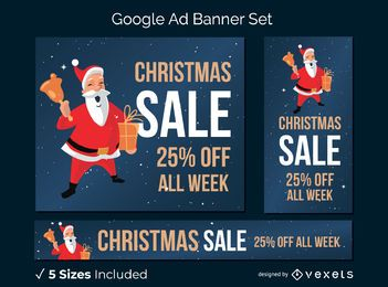 Christmas sale santa banner set