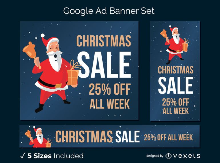 Christmas sale santa banner set