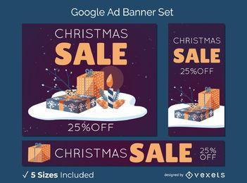 Banner de Natal conjunto de presentes