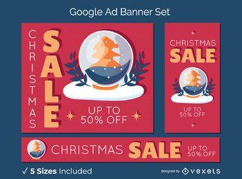 Conjunto de banner de globo de nieve de venta de navidad