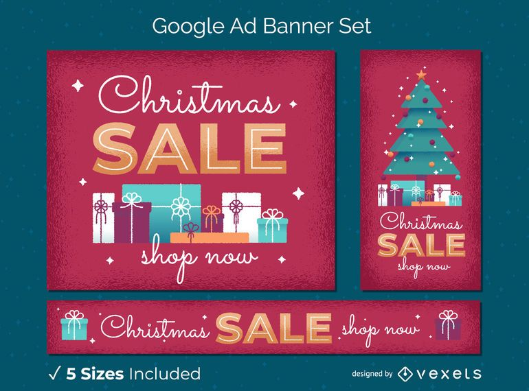 Christmas sale web banner set