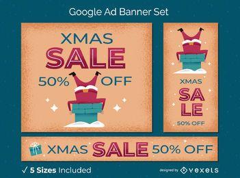 Xmas sale santa banner set