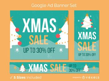 Christmas sale trees banner set