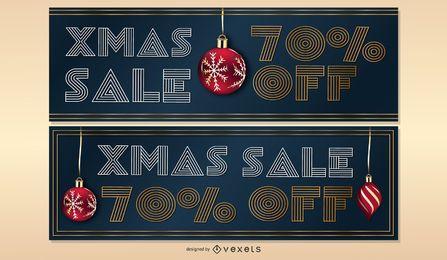 Conjunto de banners de venta de Navidad
