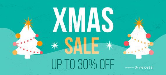 Banner de árboles de venta de Navidad