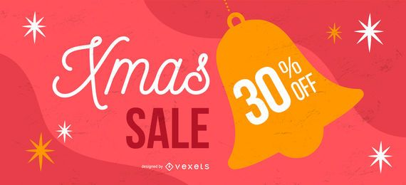 Banner de campana de venta de navidad