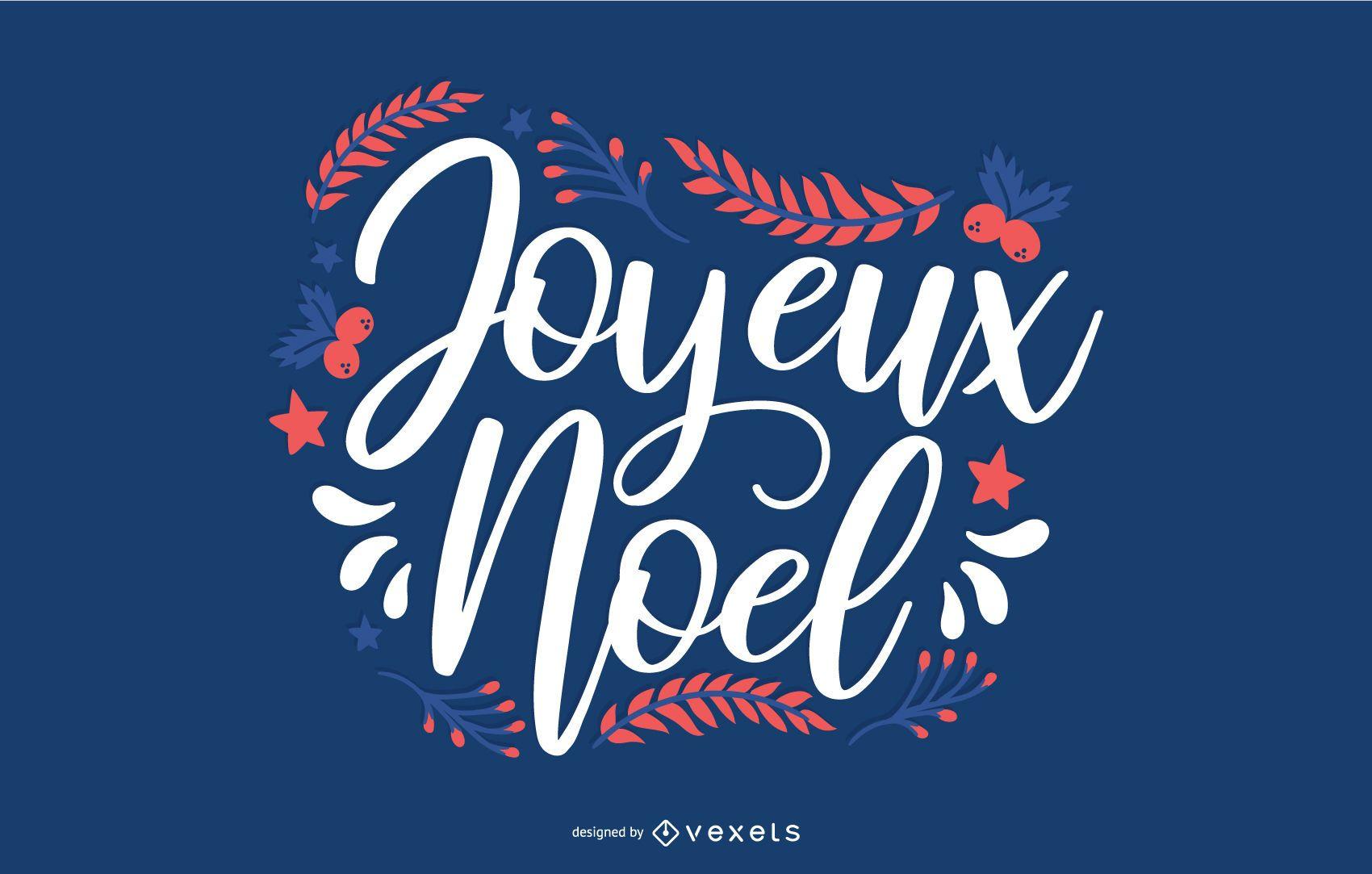 Banner de cita francesa de Navidad de escritura a mano