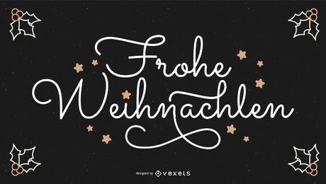 Banner de citação de Natal alemão de Frohe Weihnachten