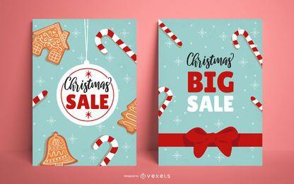 Conjunto de cartaz de venda de Natal