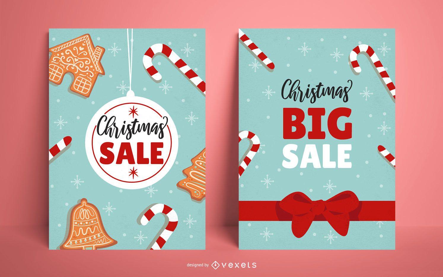Conjunto de carteles de venta de Navidad