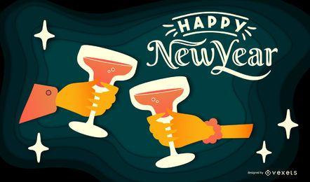 Feliz año nuevo diseño de banner de Papercut