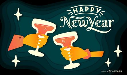 Happy New Year Papercut Banner Design