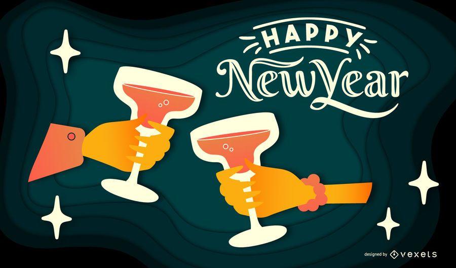 Happy New Year Papercut Banner Design