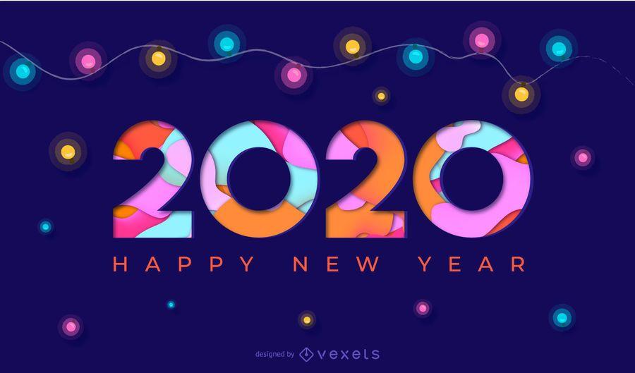 Feliz año nuevo 2020 Papercut Banner