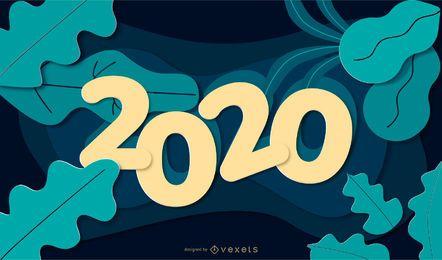 Banner de papel da natureza do ano novo de 2020