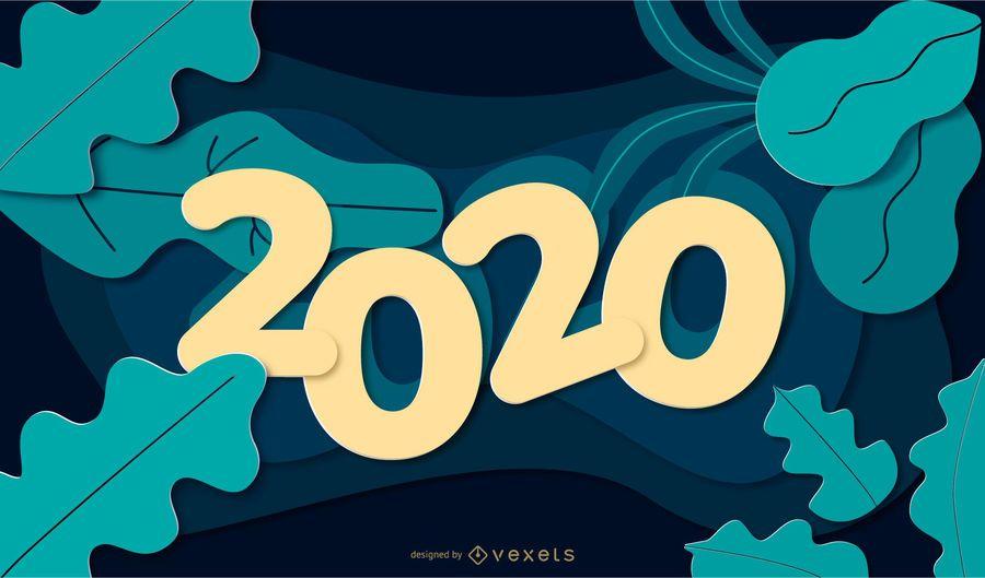 Banner de Papercut de naturaleza de año nuevo 2020