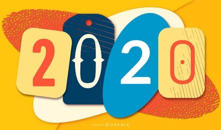 Banner de Papercut colorido año nuevo 2020