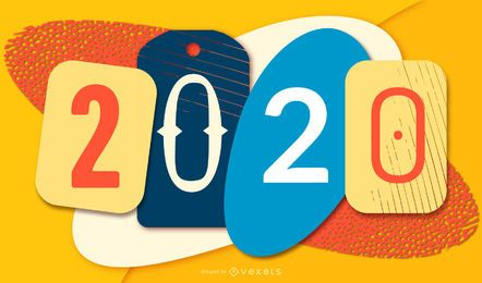 Papercut Colorful New Year 2020 Banner