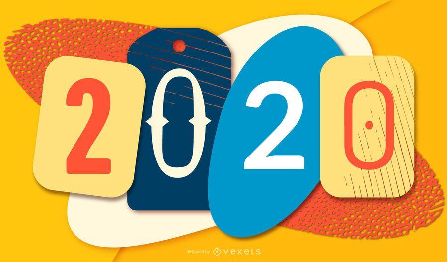 Papercut colorido ano novo 2020 Banner
