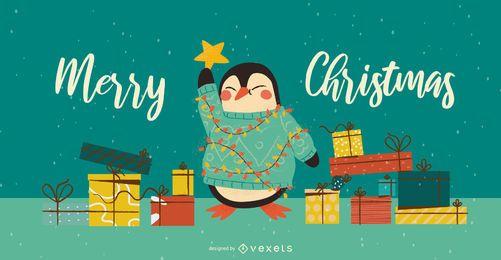 Diseño de banner de árbol de Navidad de pingüino