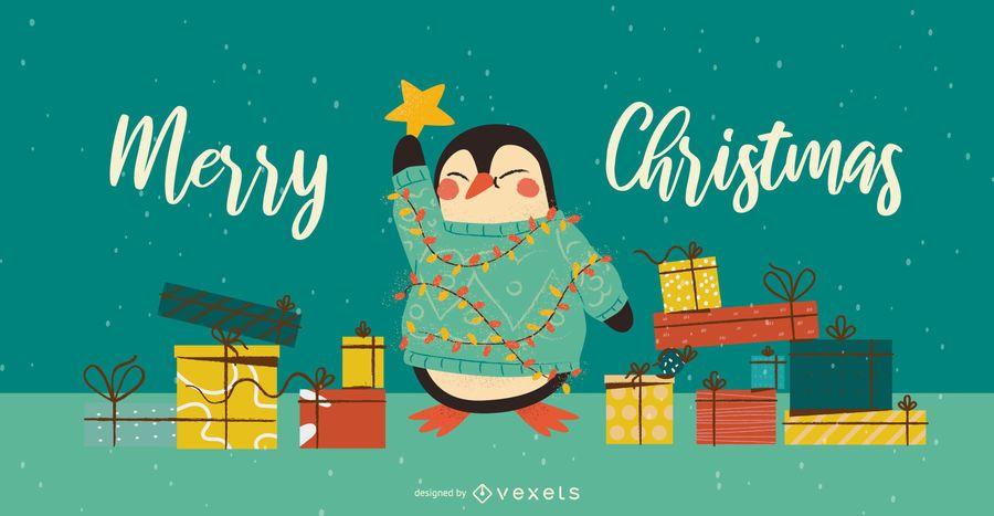 Penguin Christmas Tree Banner Design