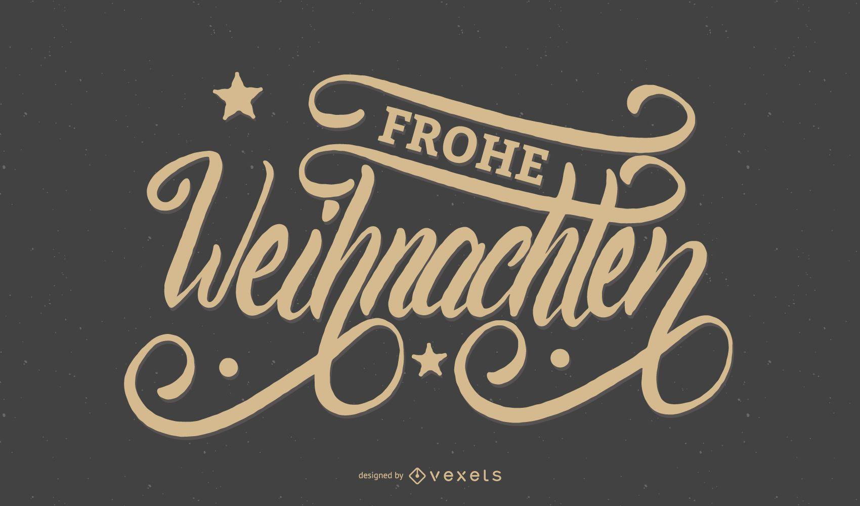 Banner de Navidad de escritura a mano Frohe Weihnachten