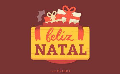 Feliz Natal Portugiesische Weihnachtszitat-Fahne