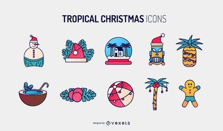Colección de iconos de Navidad tropical