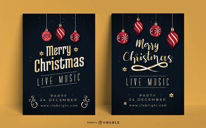 Conjunto de invitación de póster de Navidad