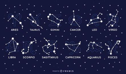 Conjunto de la constelación del zodiaco