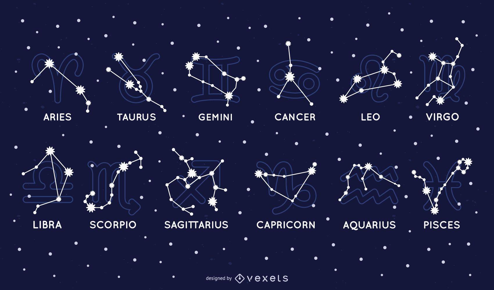 Conjunto de constelaciones del zodiaco
